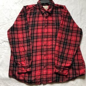 St Johns Bay men's red long sleeve flannel shirt.